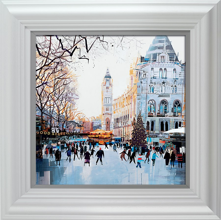 Festive Skaters, Natural History Museum by Tom Butler - Hand Finished Limited Edition on Paper sized 18x18 inches. Available from Whitewall Galleries